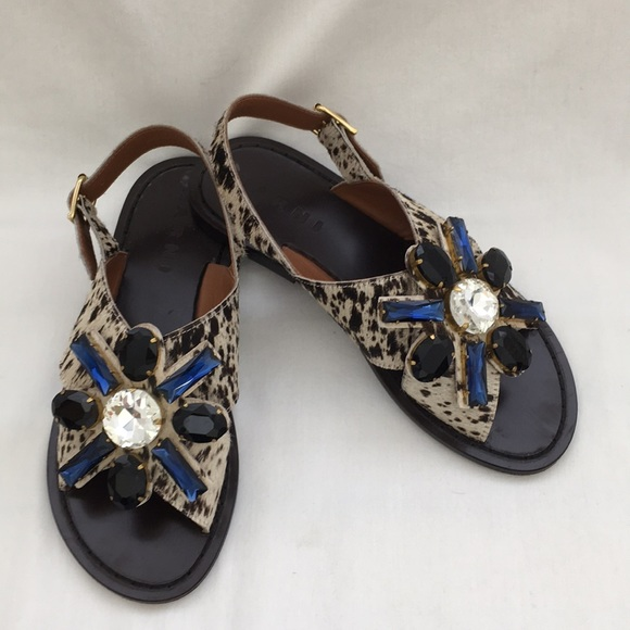fcee42fa9cfc Marni Jeweled Pony Hair Sandals. M 5ac67ea99d20f06bcd81fd2b